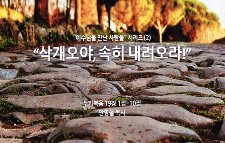 """""""예수님을 만난 사람들 시리즈(2) """" 삭개오야, 속히 내려오라! """""""